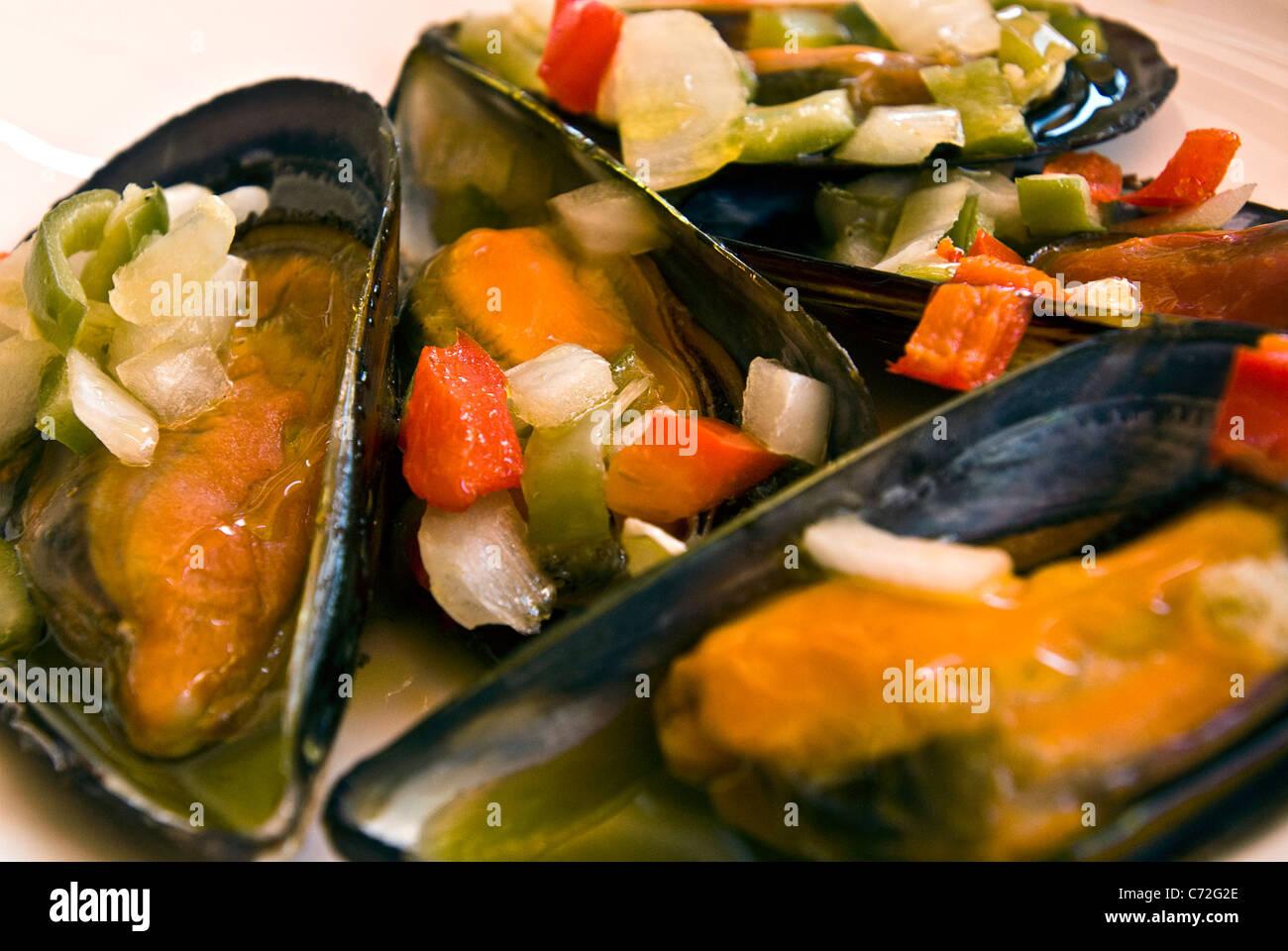 Tapa de mejillones, Ibiza, Baleares, España Imagen De Stock