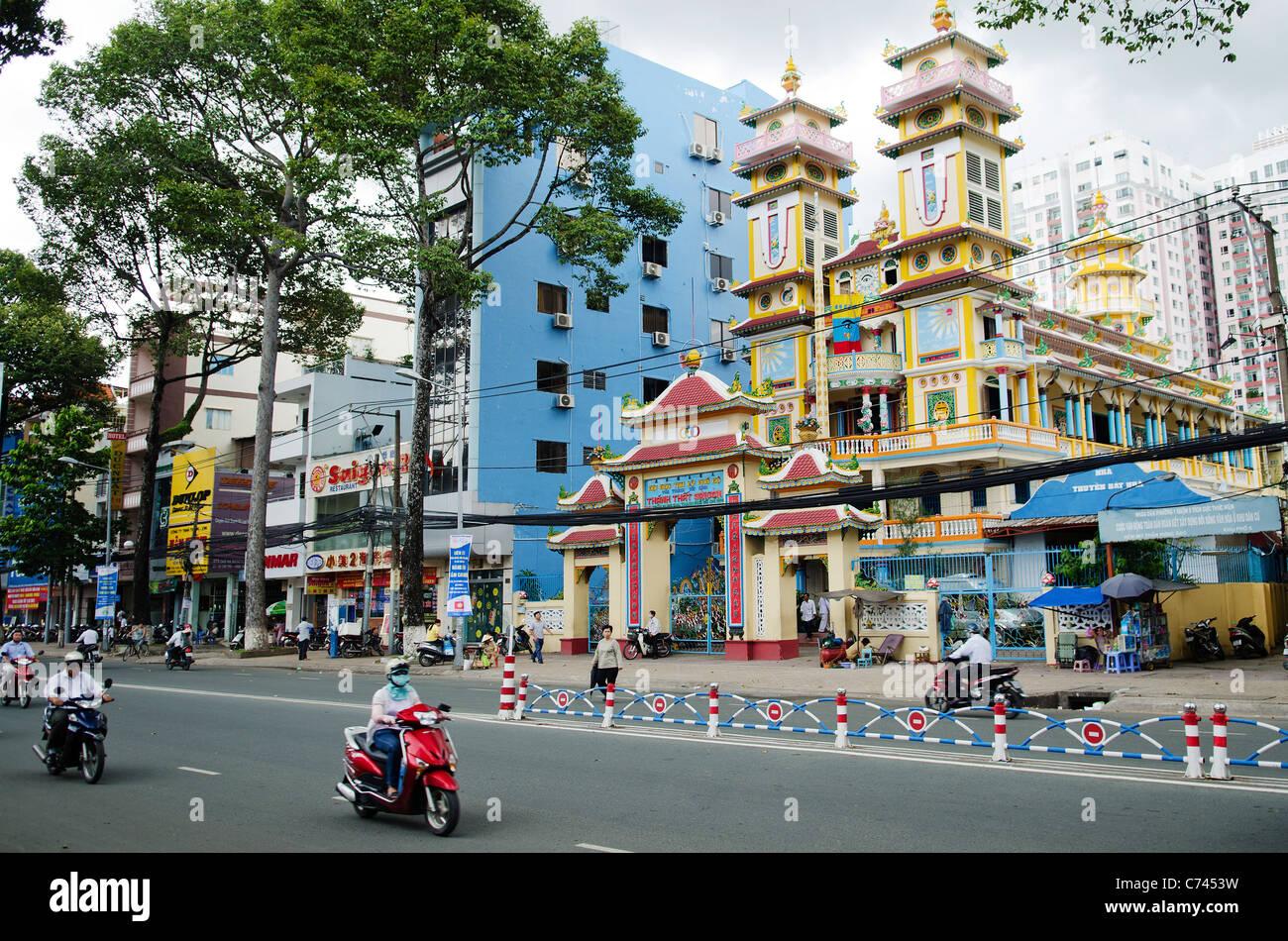 Templo cao dai en Ciudad Ho Chi Minh, Vietnam Foto de stock