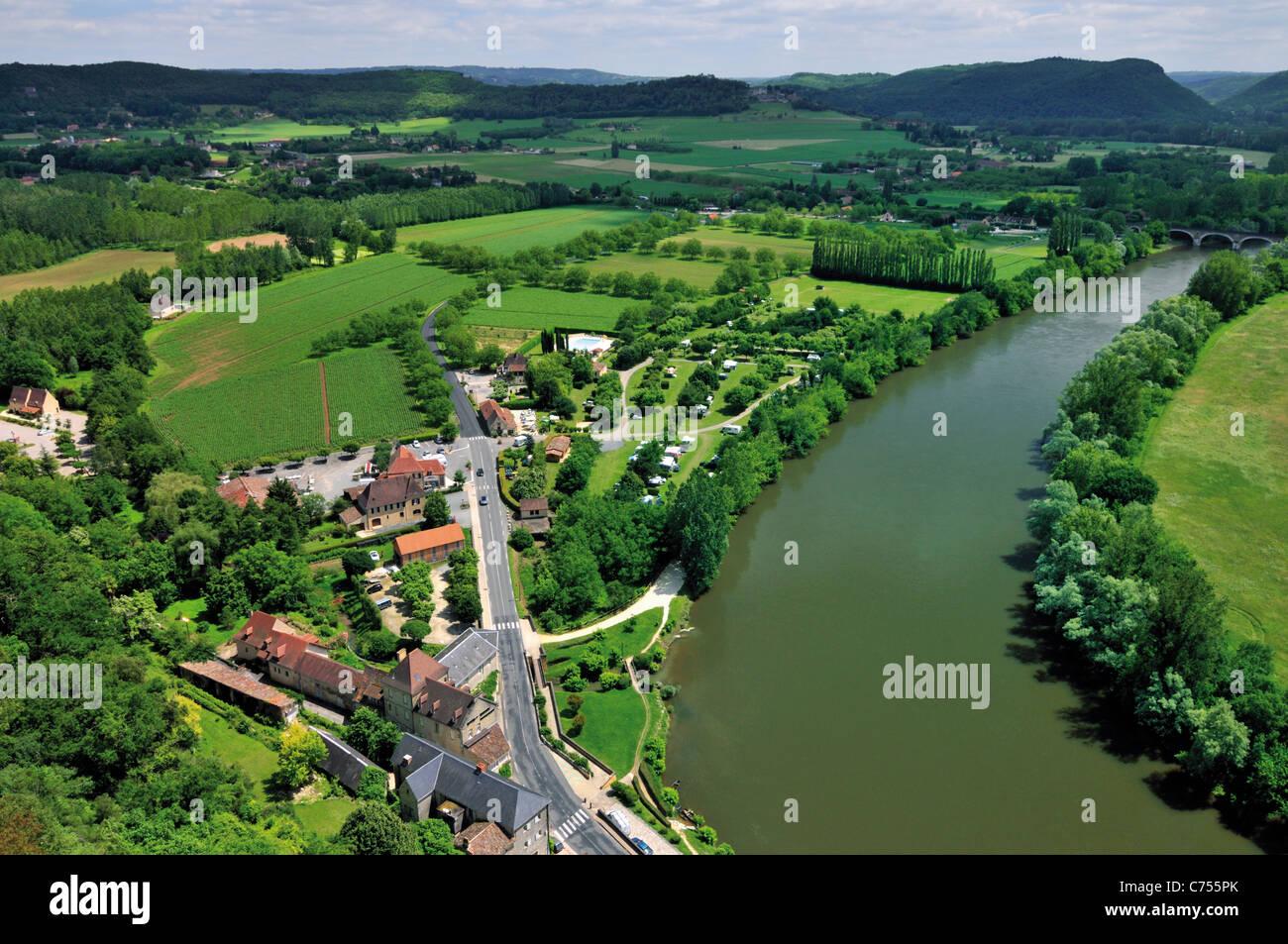 Francia, Perigord: Vista desde el Château de Beynac al Dordogne-Valley Imagen De Stock