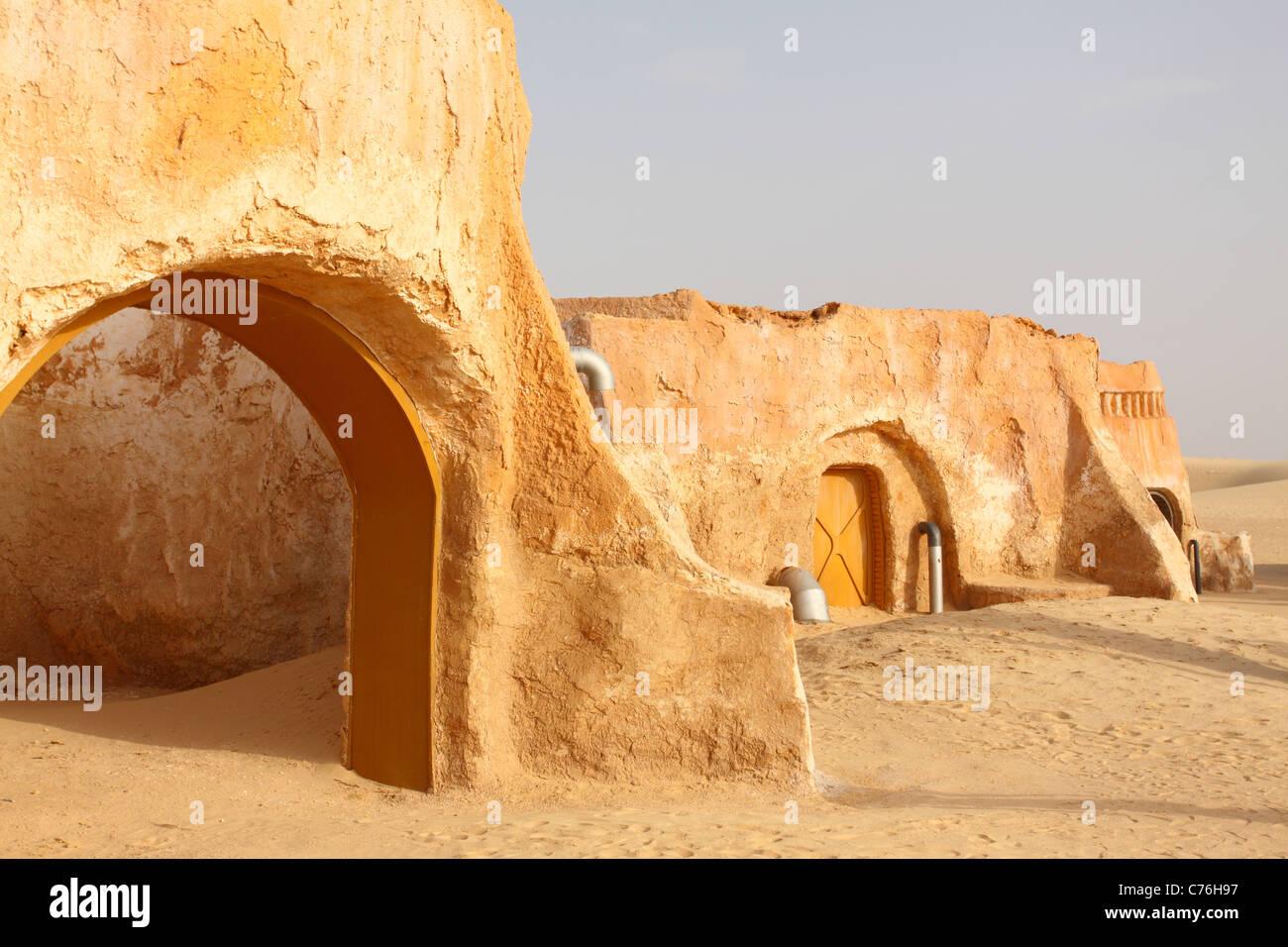 La escenografía de la película de Star Wars en Túnez Imagen De Stock