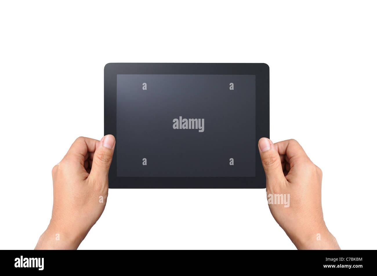 Touchpad con dos manos, aislado sobre fondo blanco. Imagen De Stock