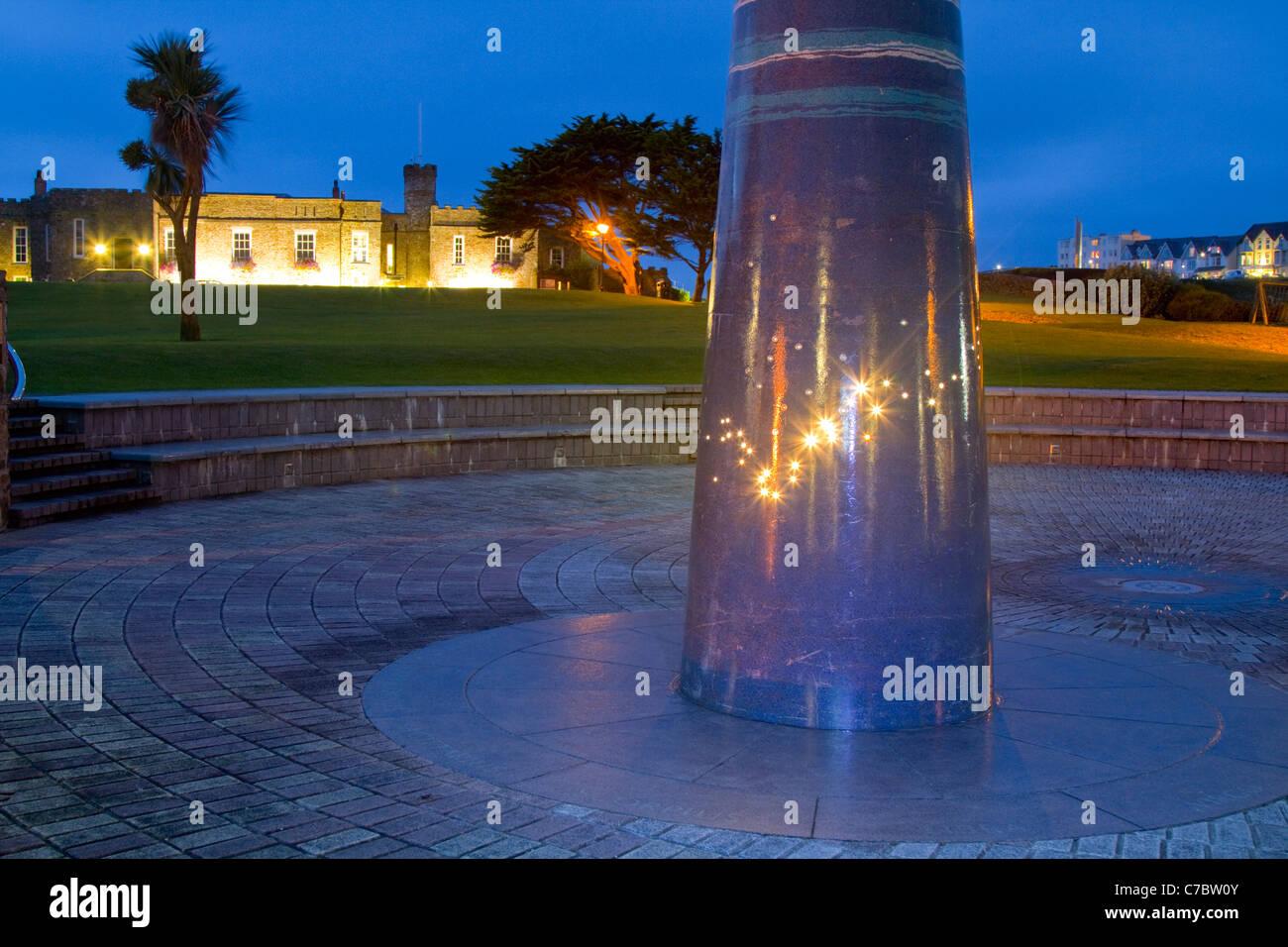 Bude luz por la noche; patrones de estrellas; Bude; Cornwall; UK Imagen De Stock