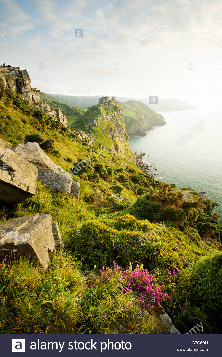 Valle de las rocas, cerca de Lynton, Exmoor National Park, North Devon Imagen De Stock