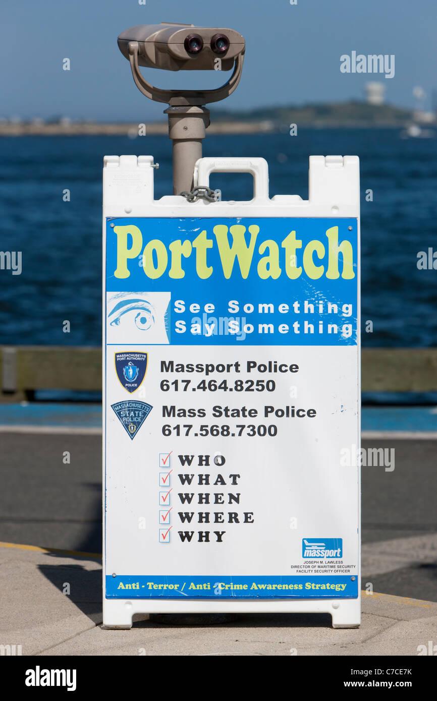 Ver Señal de puerto en el puerto de Boston en Boston, Massachusetts. Imagen De Stock