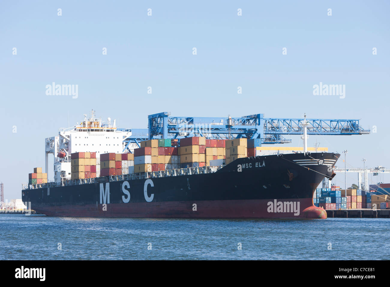 El MSC ELA buque contenedor en la Paul W. Conley Terminal en Boston, Massachusetts. Imagen De Stock