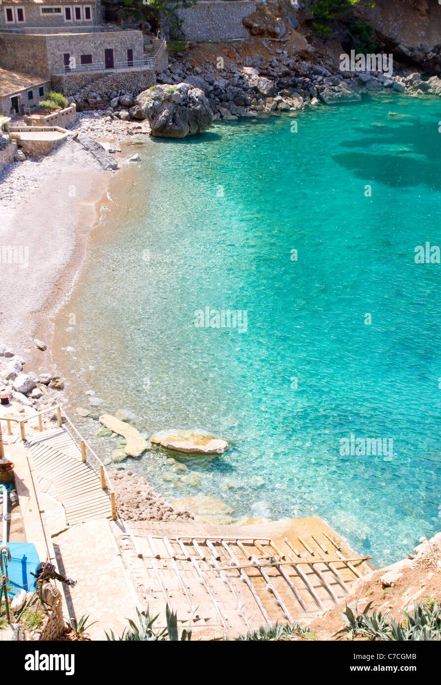 Sa Calobra playa desde el punto de vista alto en Escorca Mallorca en las Islas Baleares Imagen De Stock