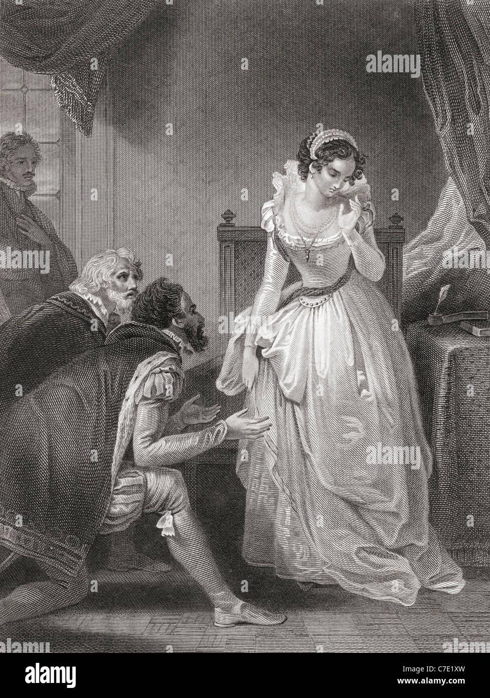 Lady Jane Grey disminuyendo el trono. Imagen De Stock
