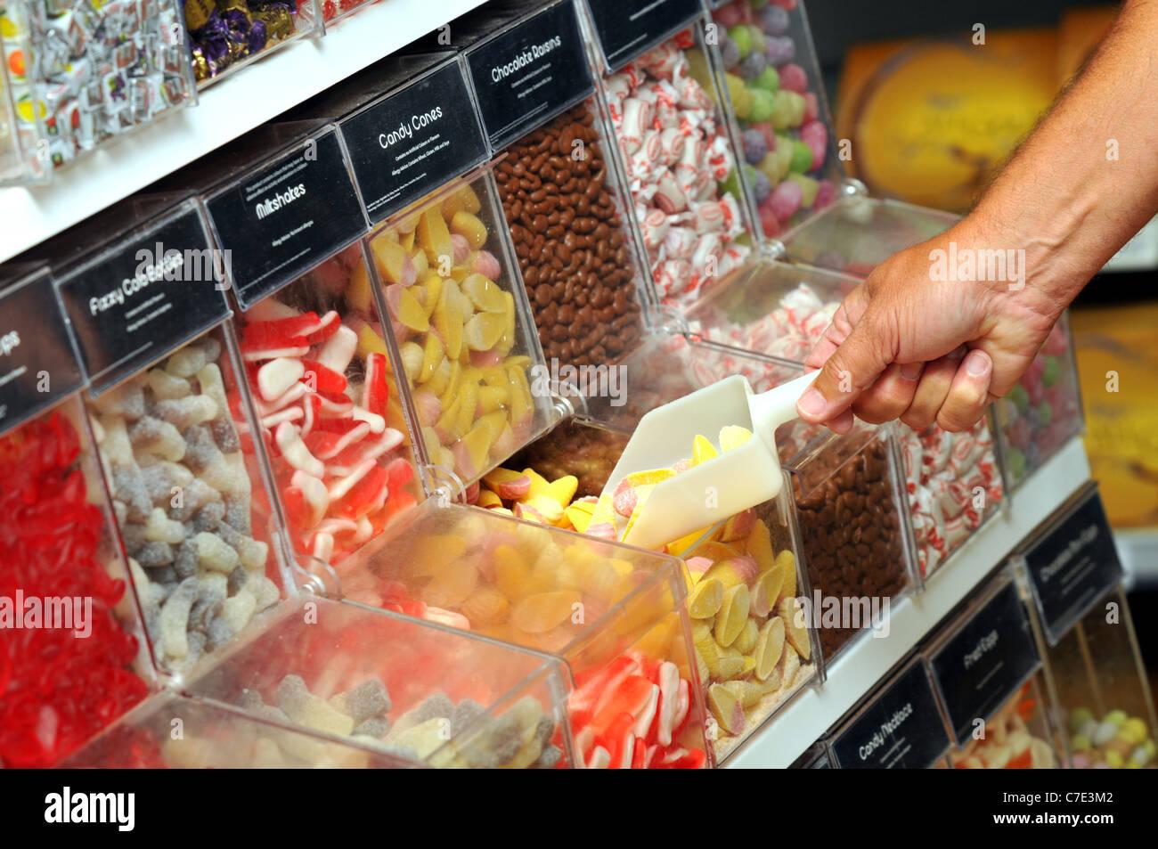 Escoger y Mezclar los dulces, pick n mix, caramelos, pastillas Imagen De Stock