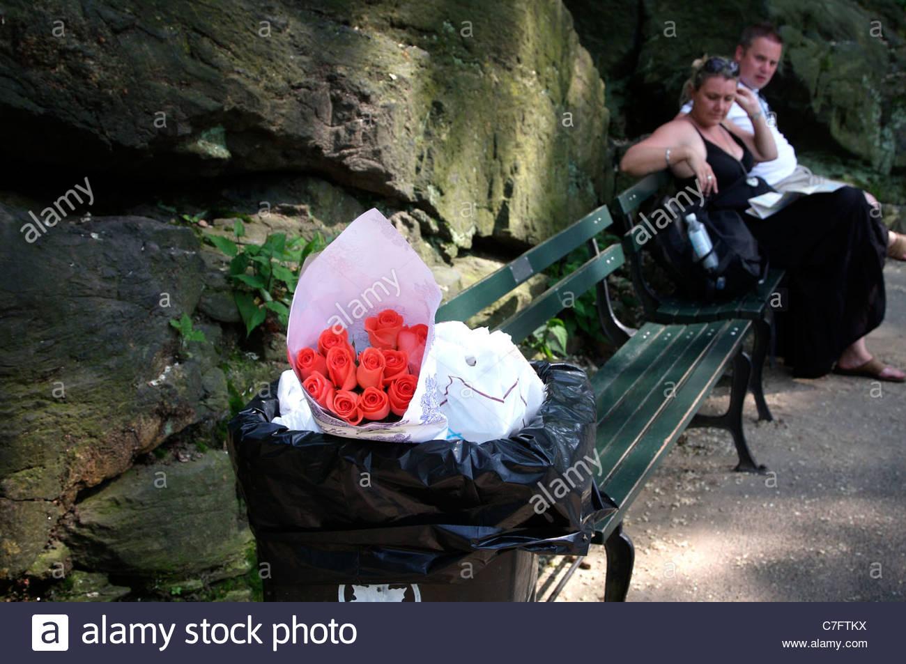 Descarta las rosas en una papelera en Central Park, Nueva York, EE.UU. Imagen De Stock