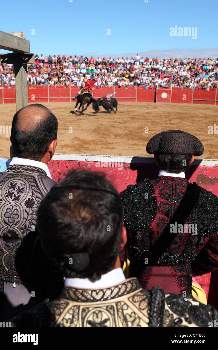 Los toreros (Bandarilheiros) ver una corrida de toros desde detrás de la  barrera 4820fbd164a