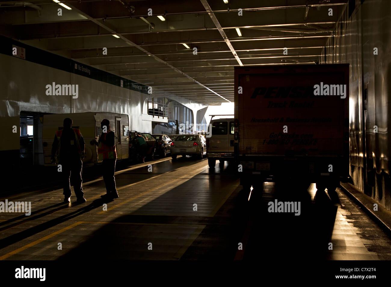 Ferry, vehículos en Washington State Ferry Imagen De Stock