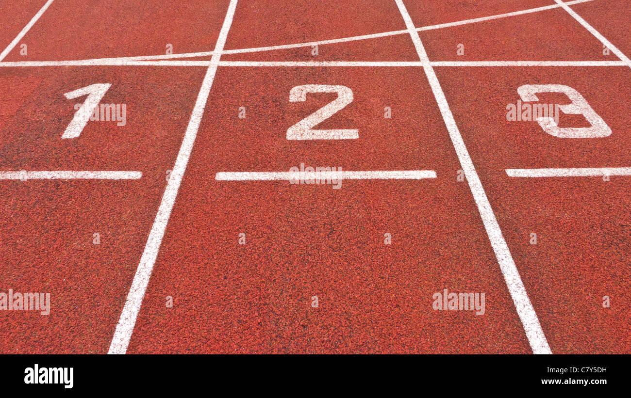Pista de Atletismo Inicio Imagen De Stock