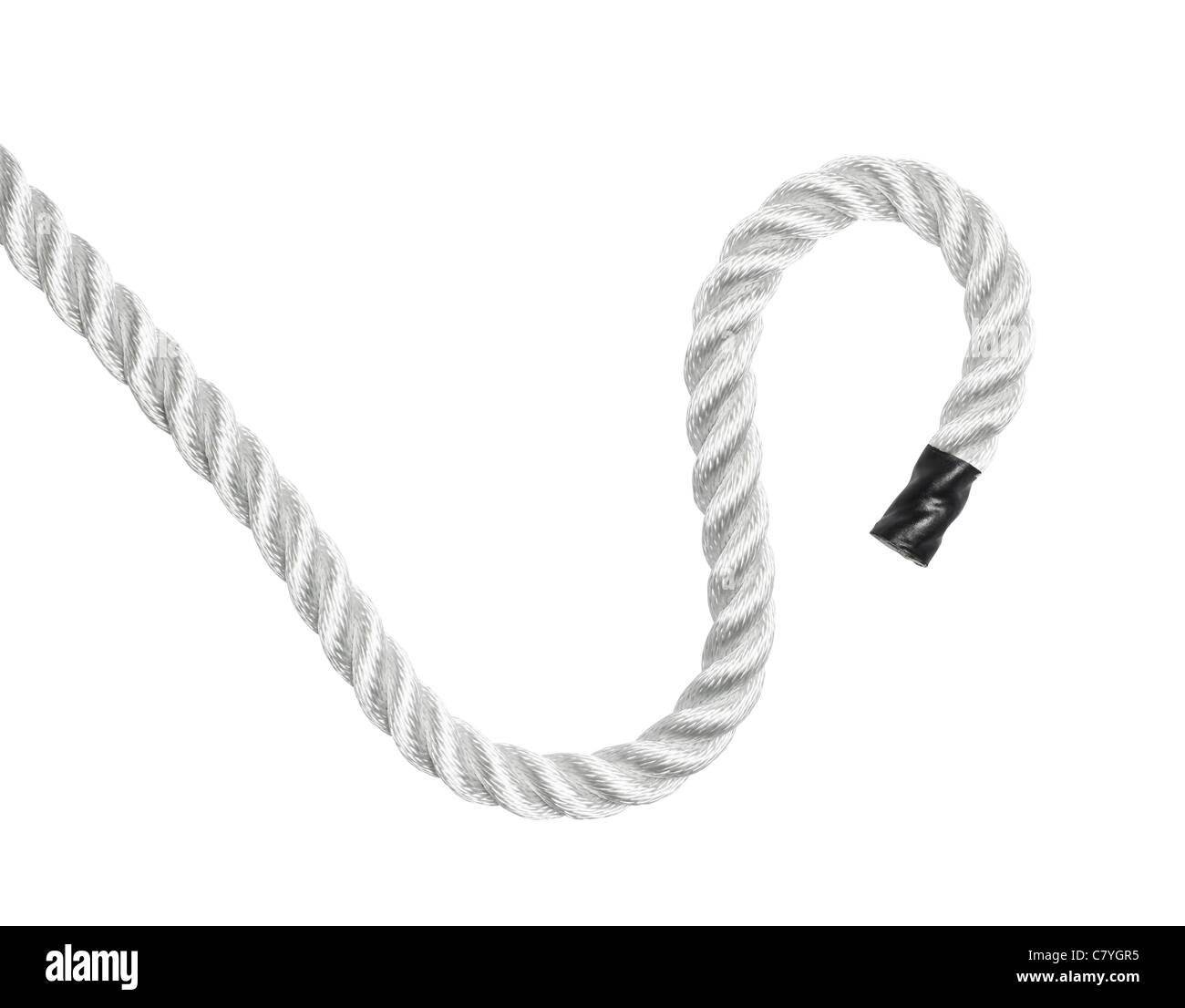 Final de una cuerda aislado en blanco Imagen De Stock