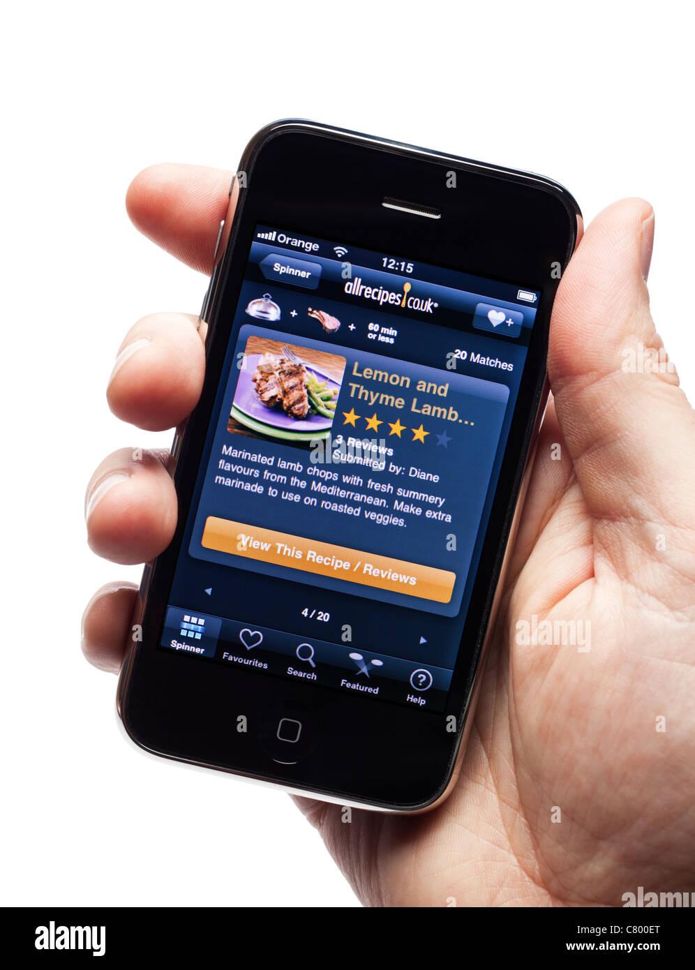 Sugerencia de menú app en un smartphone smart phone teléfono móvil Imagen De Stock