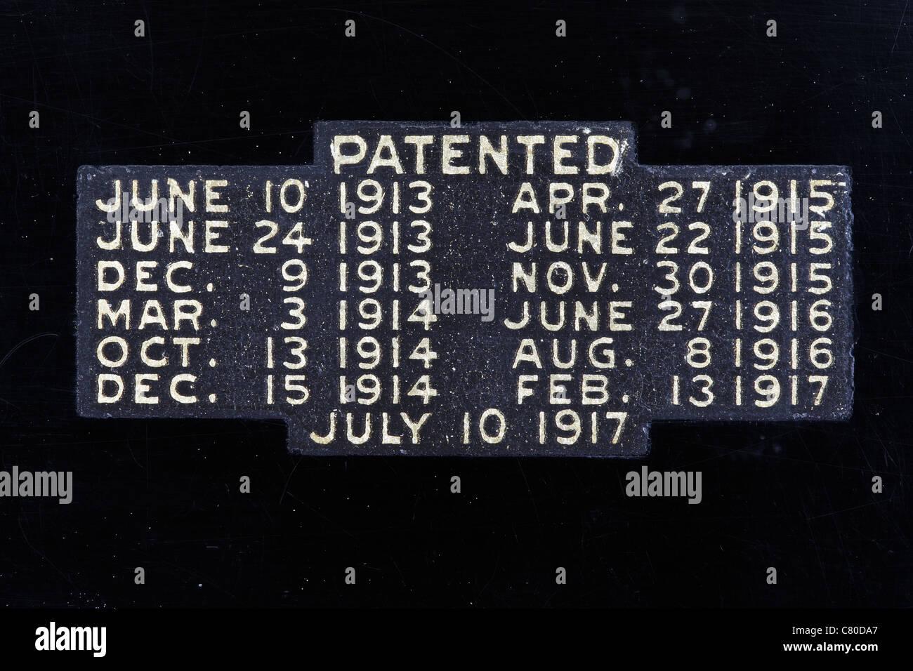 Etiqueta de patente en una máquina de escribir Foto de stock