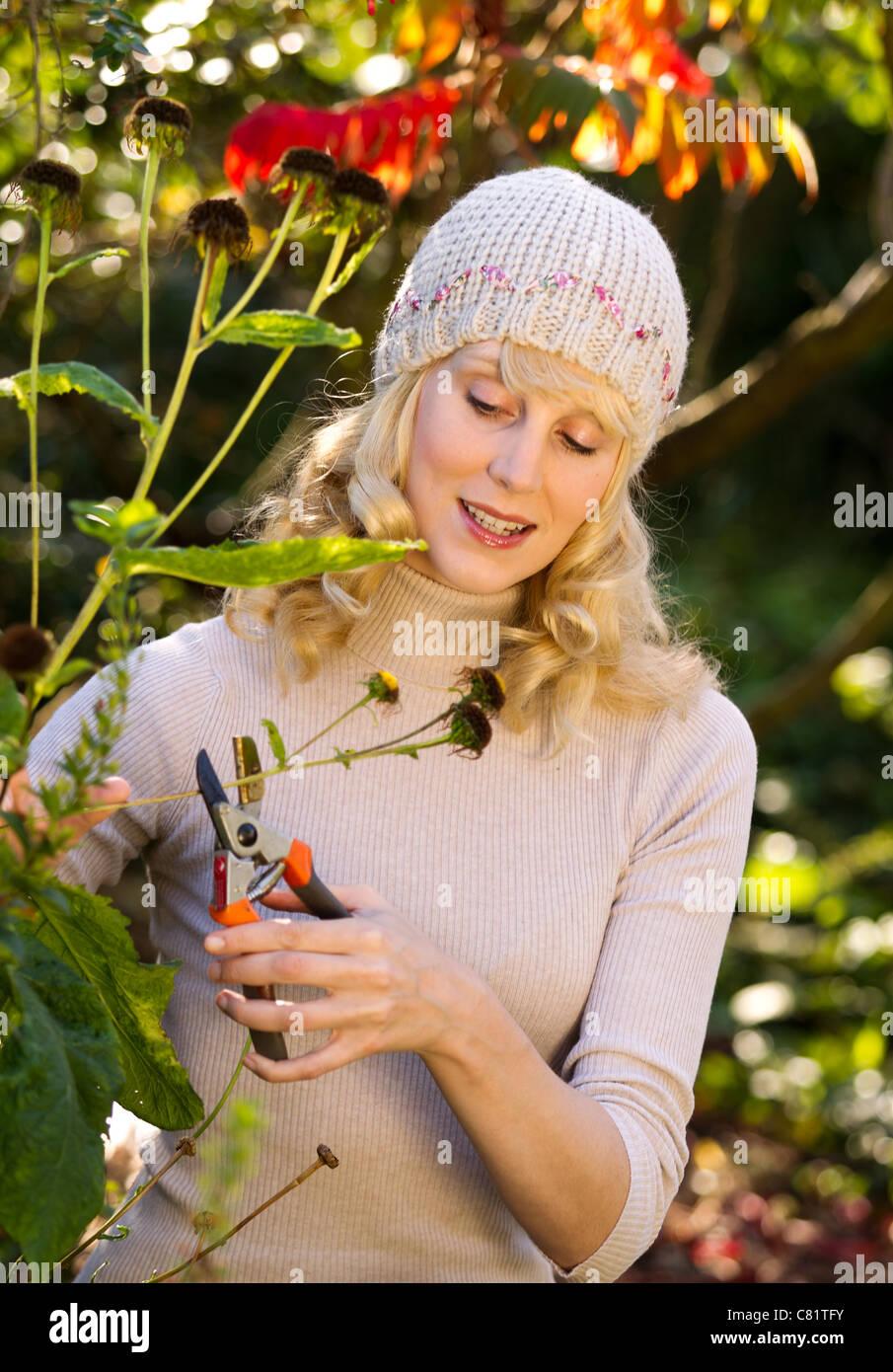 Mujer trabajando en el jardín de otoño Foto de stock