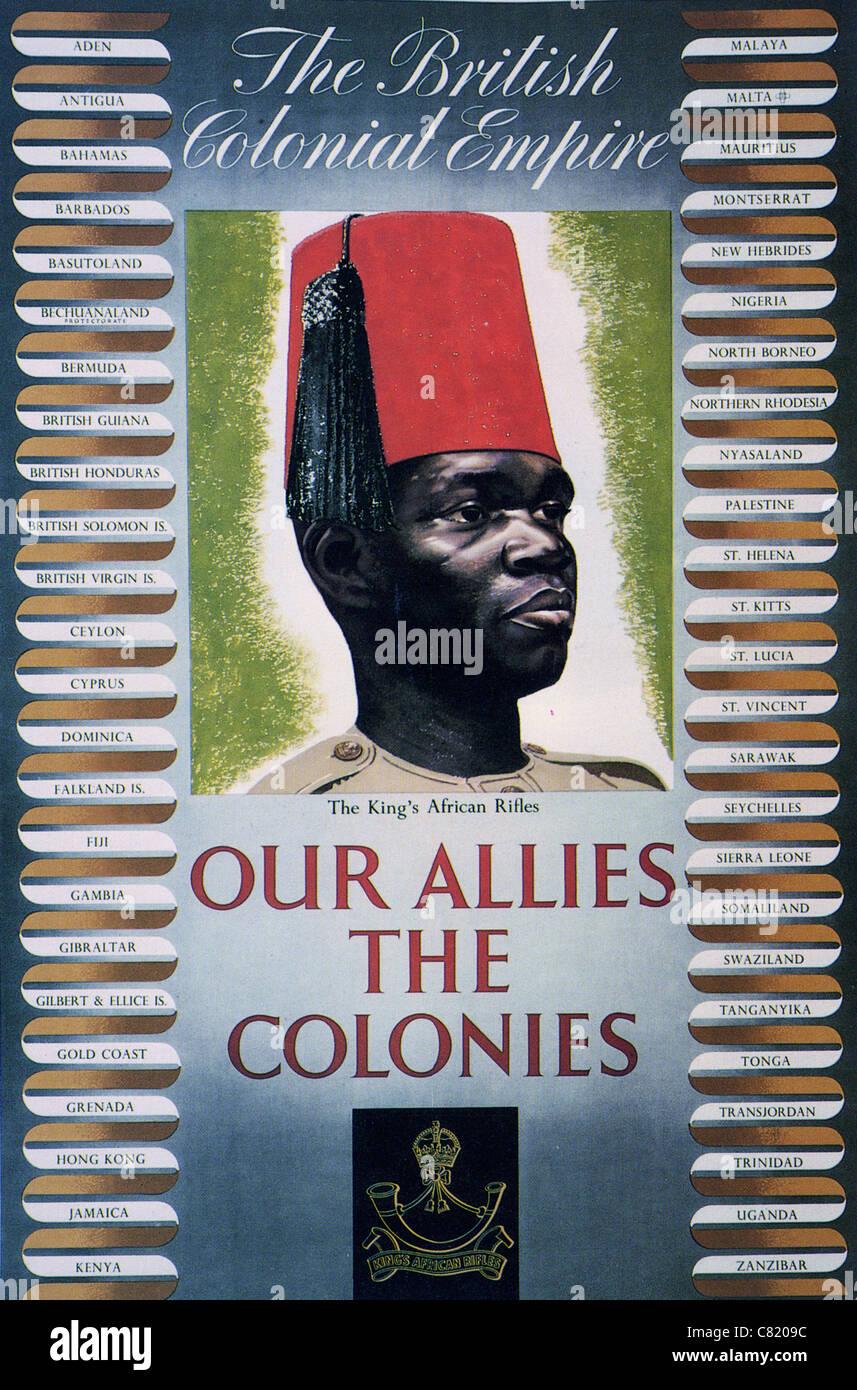 Nuestros aliados las colonias - British WW2 poster destacando la aportación de la Mancomunidad Británica de Naciones. Foto de stock