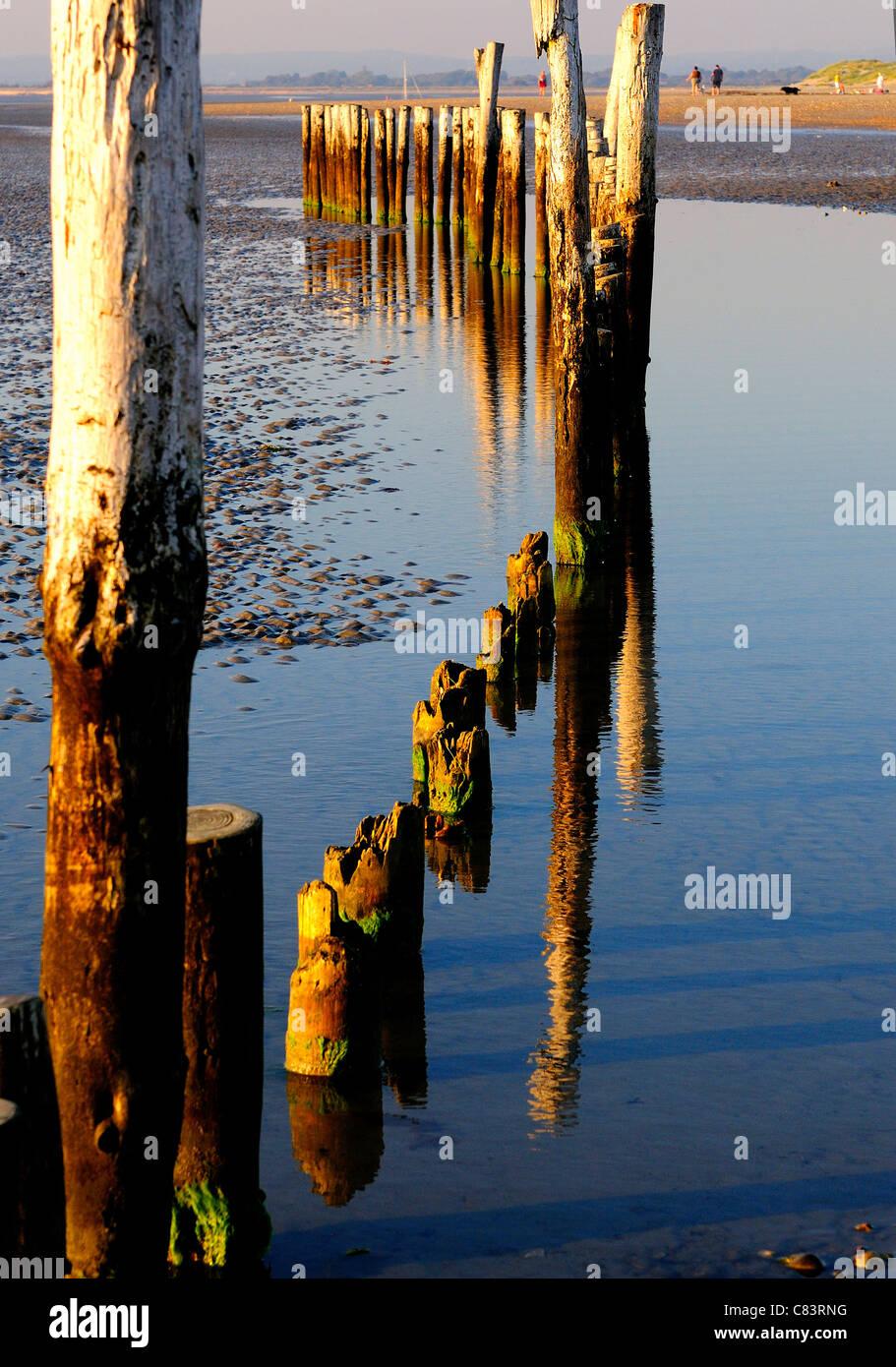 Patrones y reflexiones de madera West Wittering groynes's Beach con marea baja. Imagen De Stock