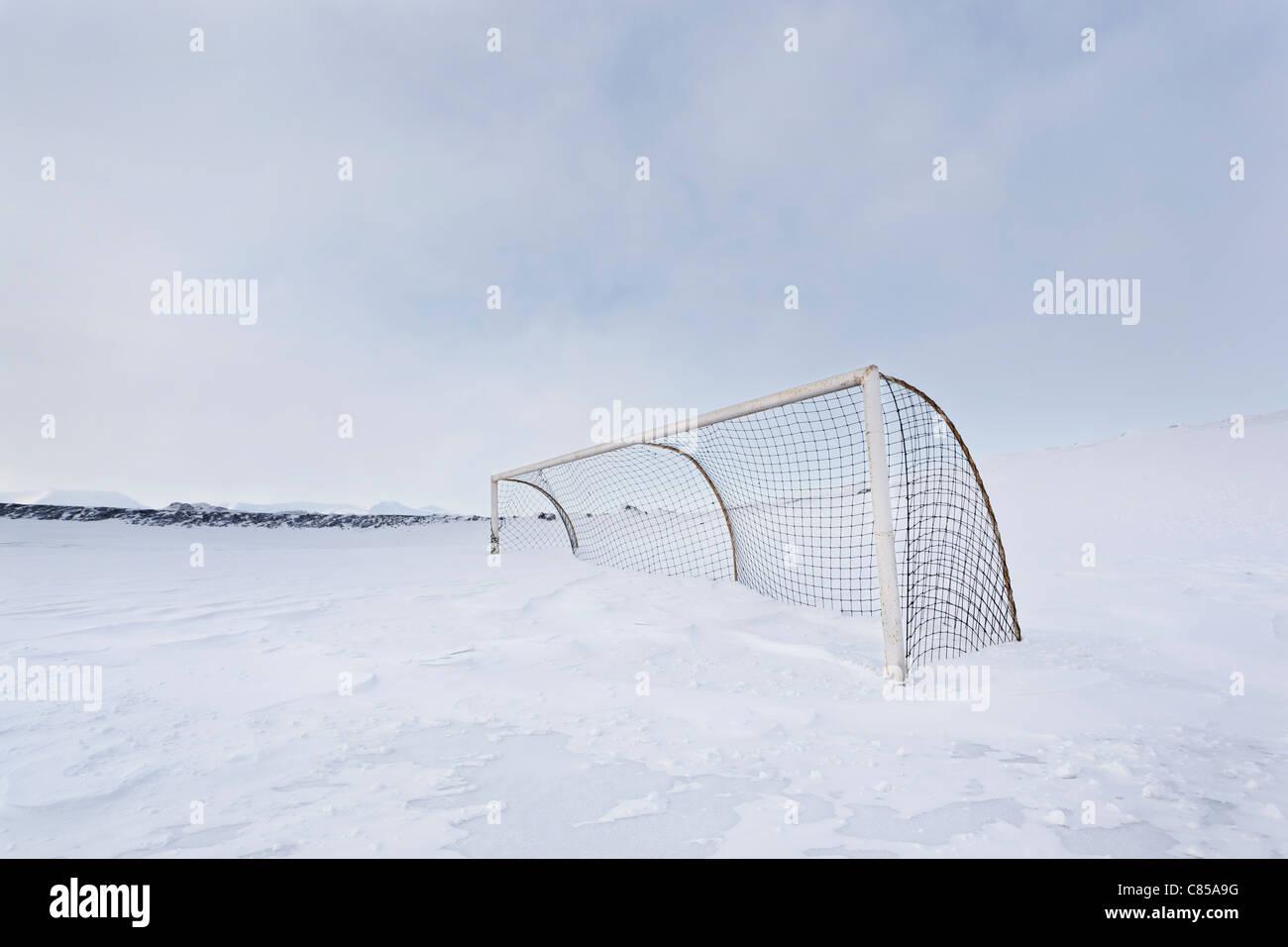 Red de Hockey en el campo cubierto de nieve Imagen De Stock