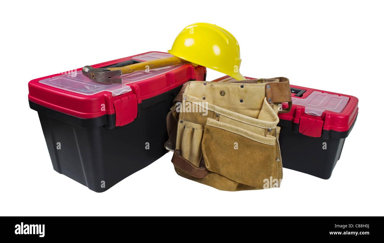 Cajas de herramientas y un martillo con cinturón para herramientas de cuero  y sombrero duro - a5078e7d2a23