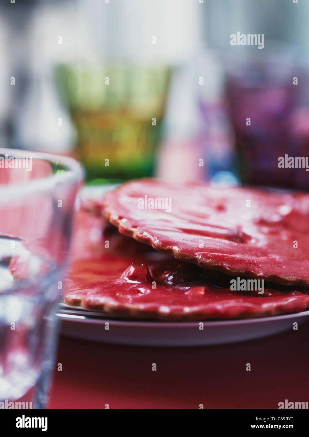 Rosa praline tartaletas de Saint-Genix Foto de stock