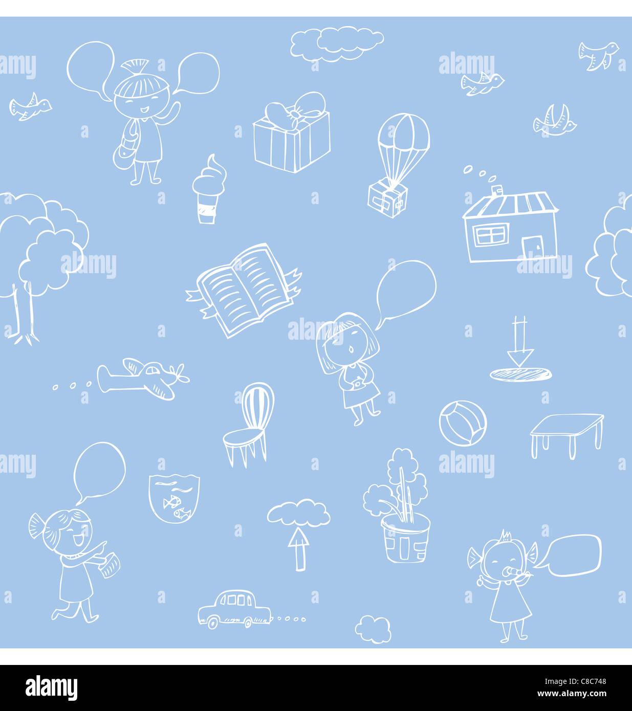 Patrón sin fisuras de bocetos mano ilustración acerca de la naturaleza y viajar. Imagen De Stock