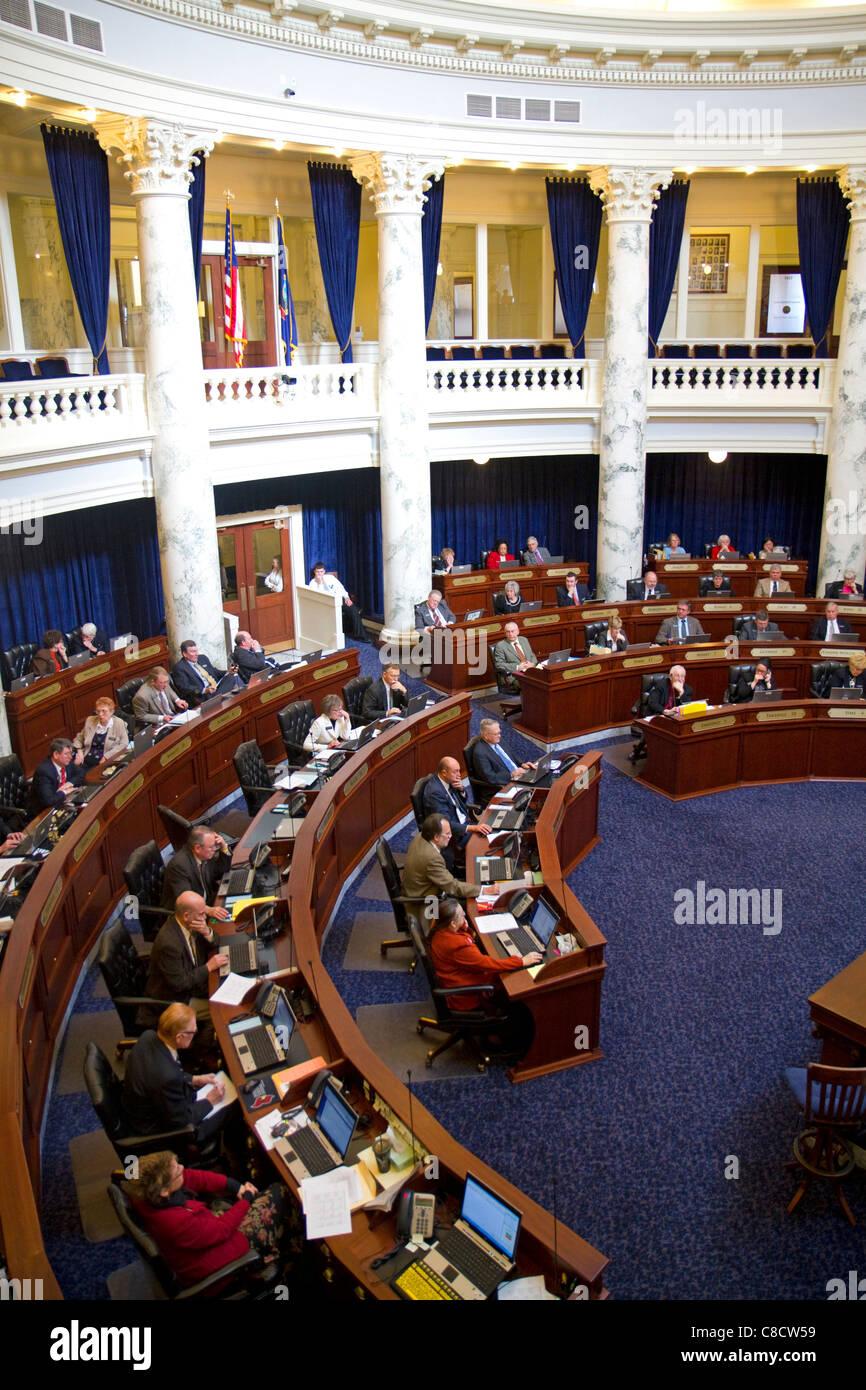Cámara de Representantes de Idaho en el período de sesiones en el edificio del Capitolio de Idaho, ubicado en Boise, Idaho, USA. Foto de stock