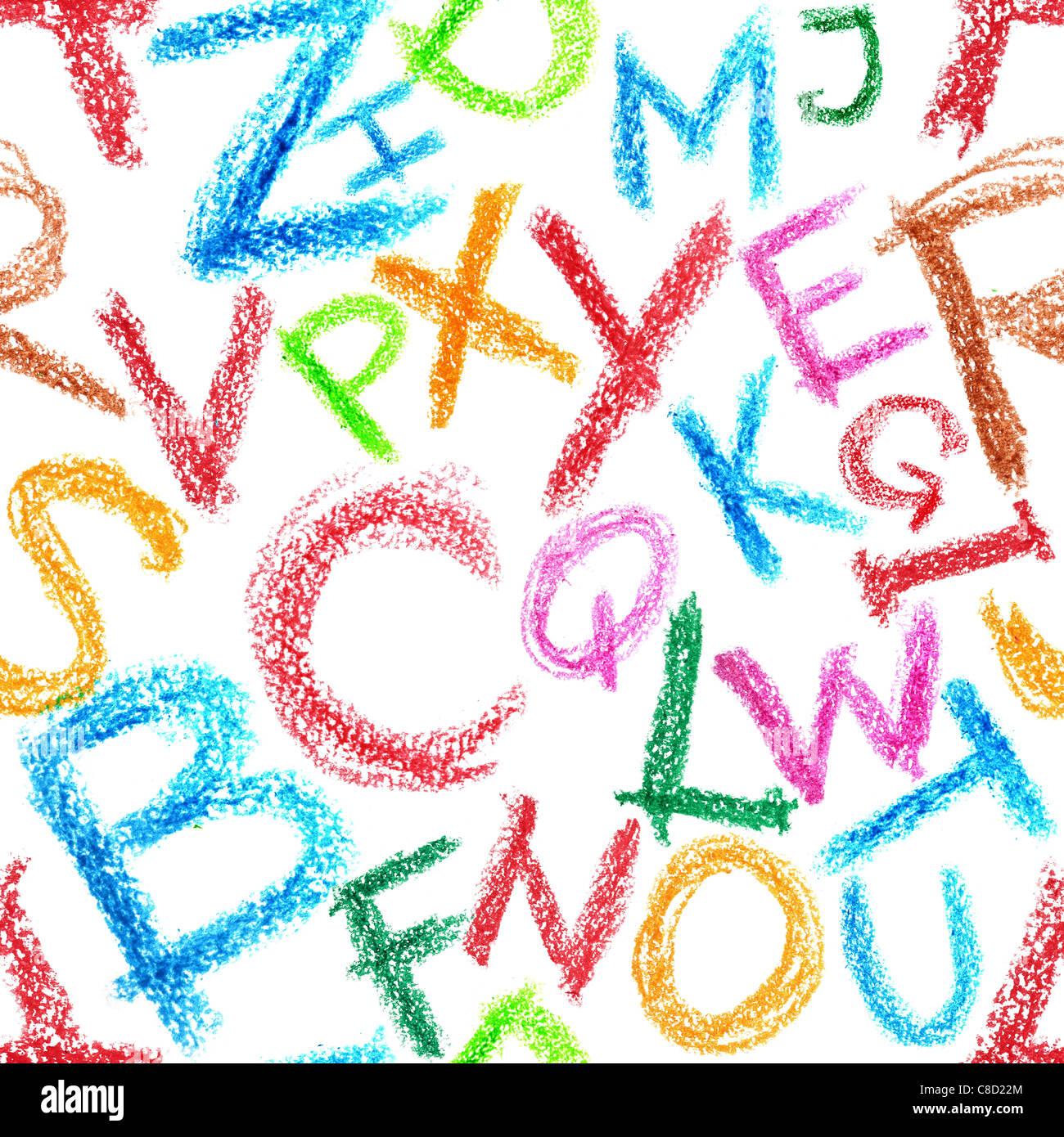 Patrón sin fisuras - Alfabeto Crayón sobre fondo blanco. Imagen De Stock