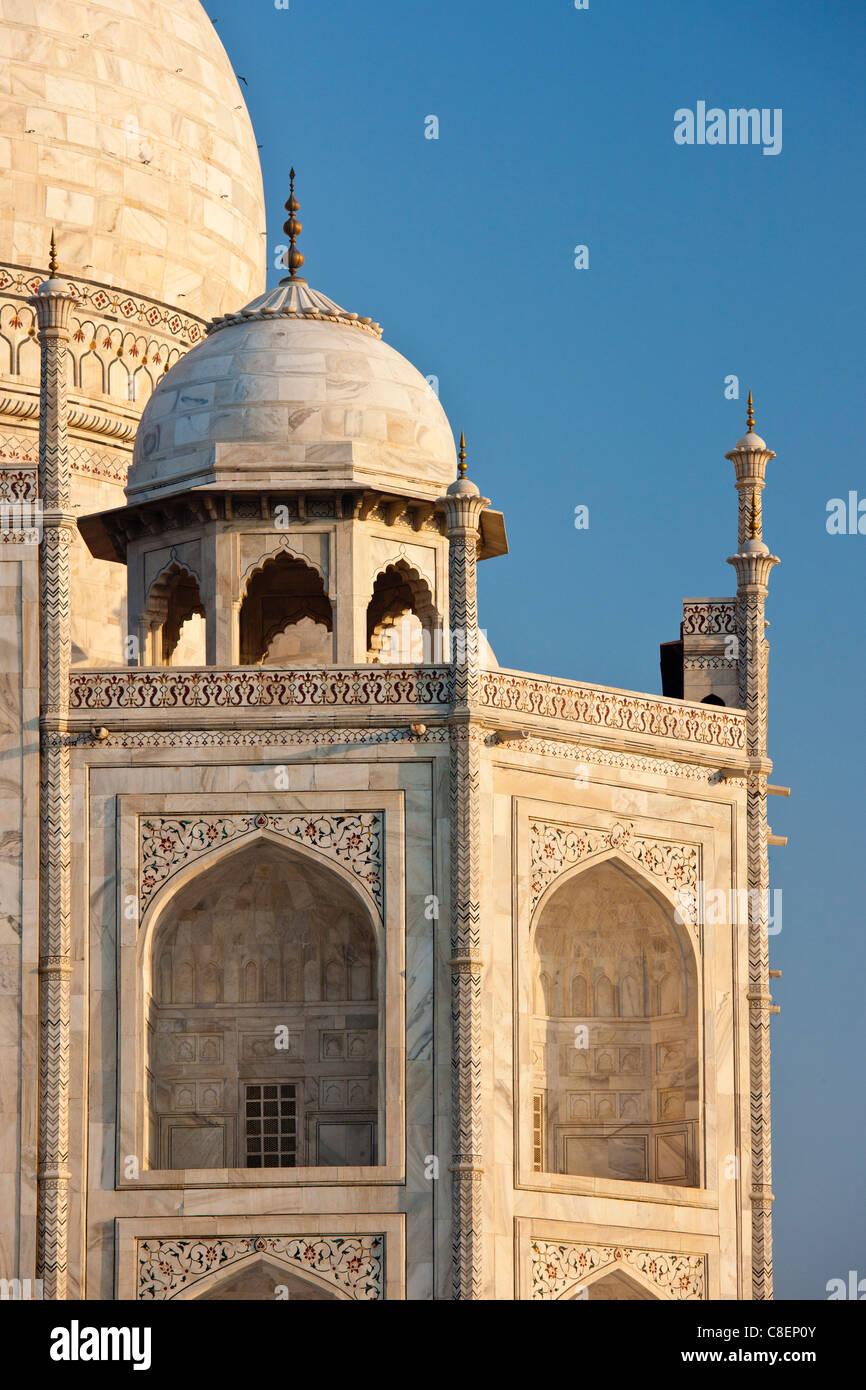 Iwans mausoleo de Taj Mahal, western ver detalle diamond facetas con bajorrelieves de mármol, Uttar Pradesh, Imagen De Stock