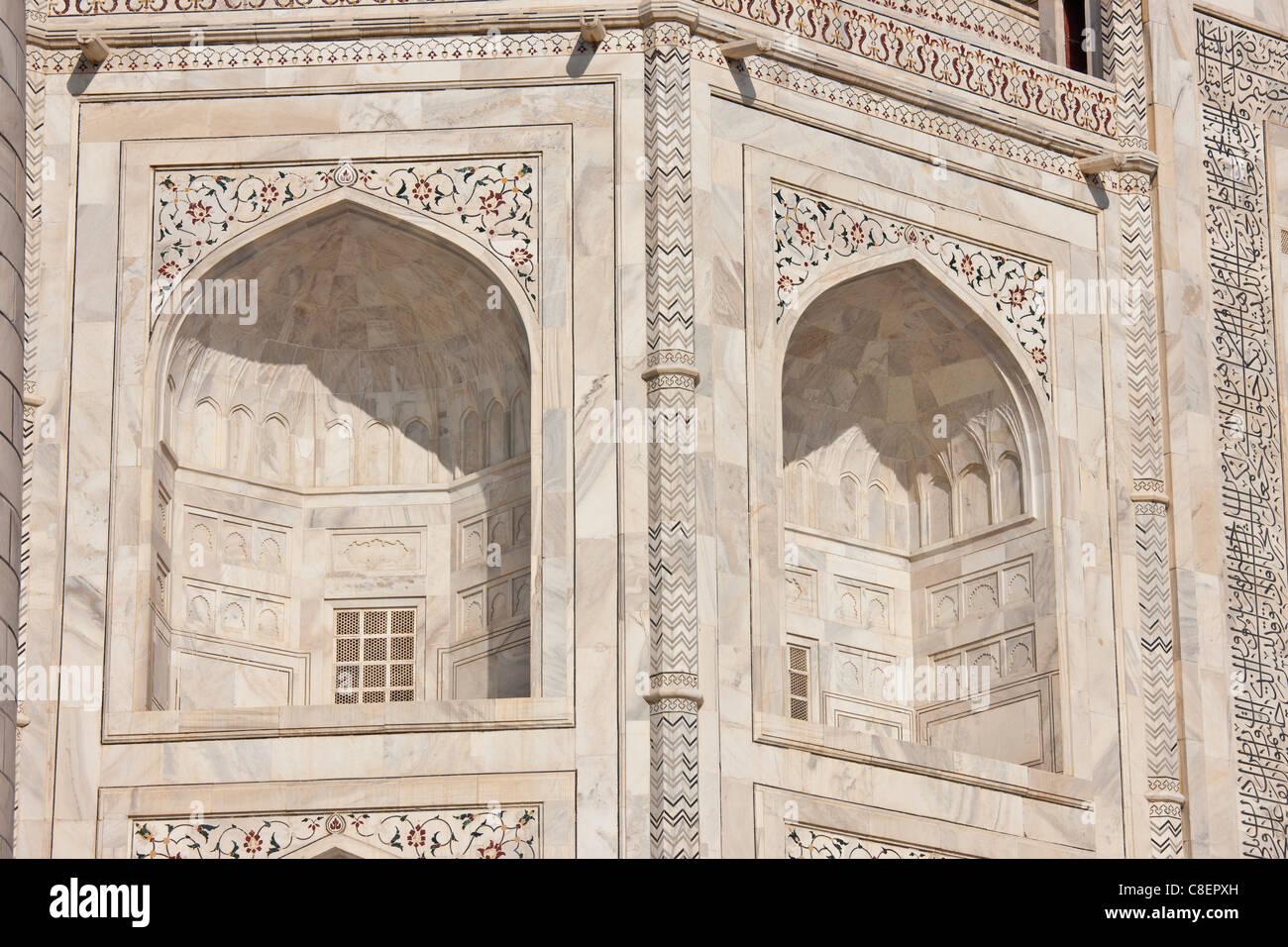 El mausoleo de Taj Mahal, el sur ver detalle, Uttar Pradesh, India Imagen De Stock