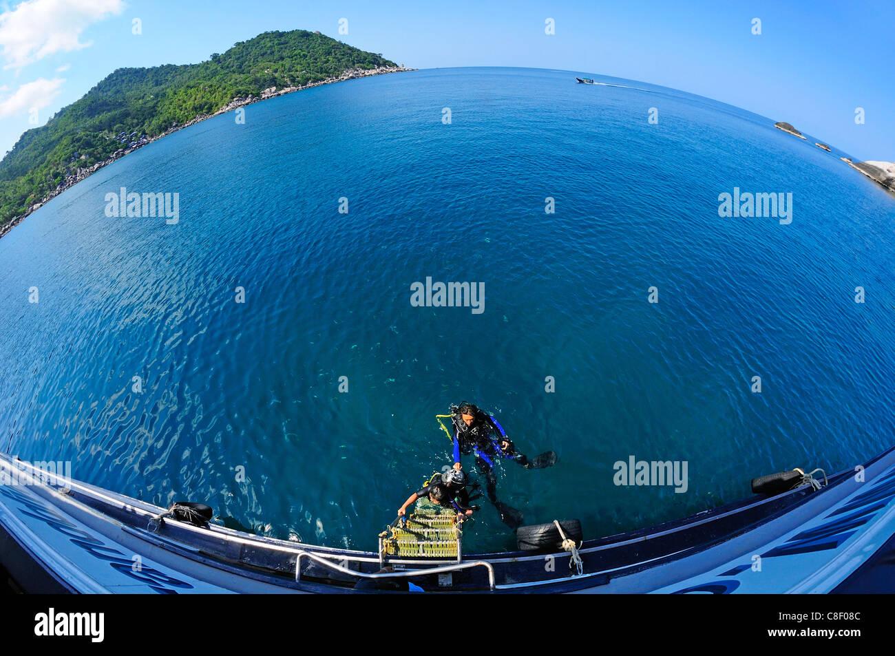 Los buceadores Hin Wong, la bahía, el viaje de buceo, Koh Tao, Tailandia, Asia Imagen De Stock