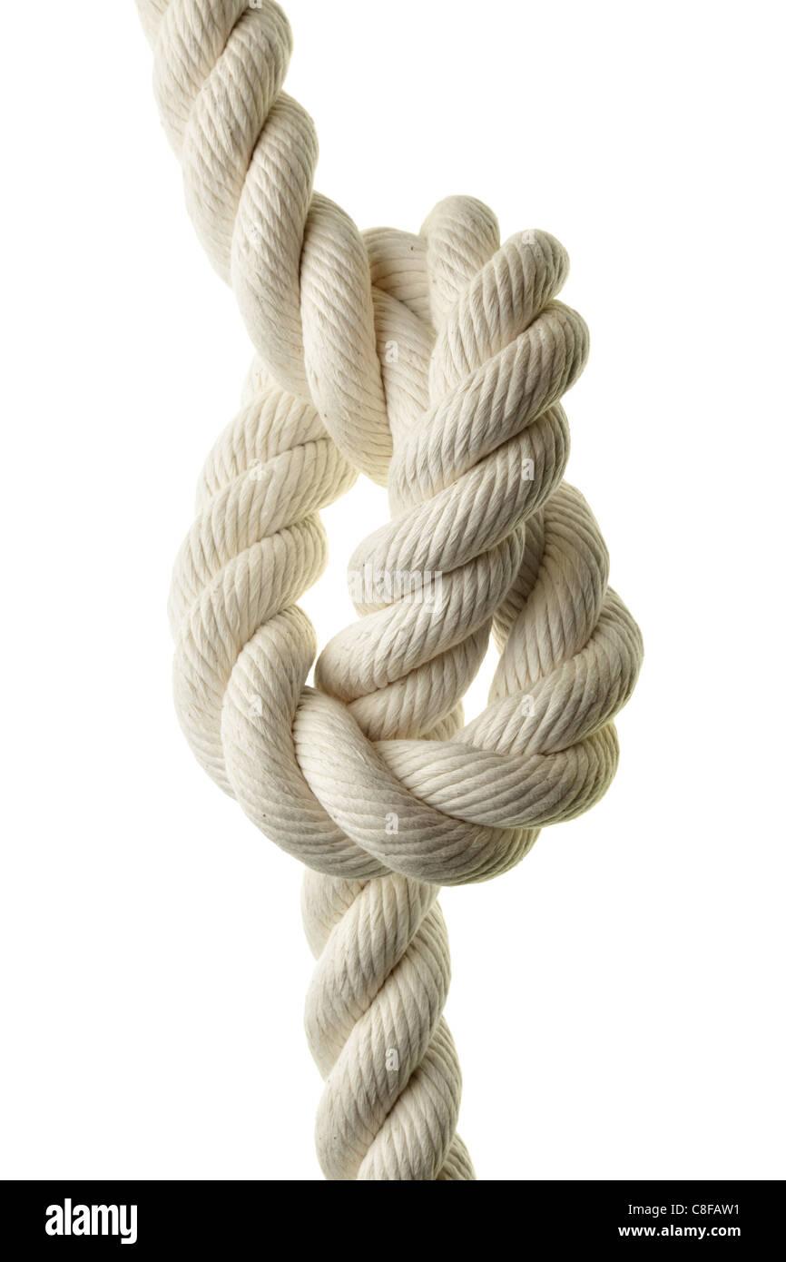 Cuerda con lazo aislado sobre fondo blanco. Imagen De Stock