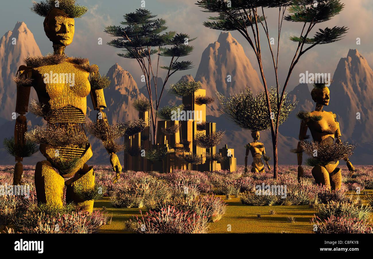 Las praderas de una civilización perdida. Imagen De Stock