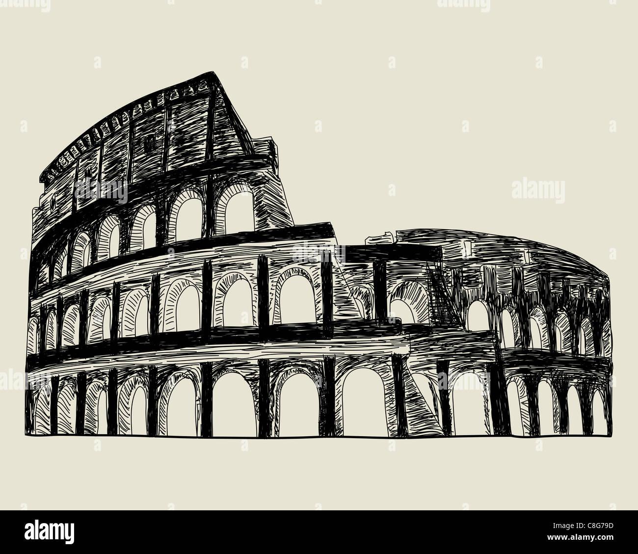 Coliseo Romano Dibujo Vectorial Ilustración Para El Diseño Foto