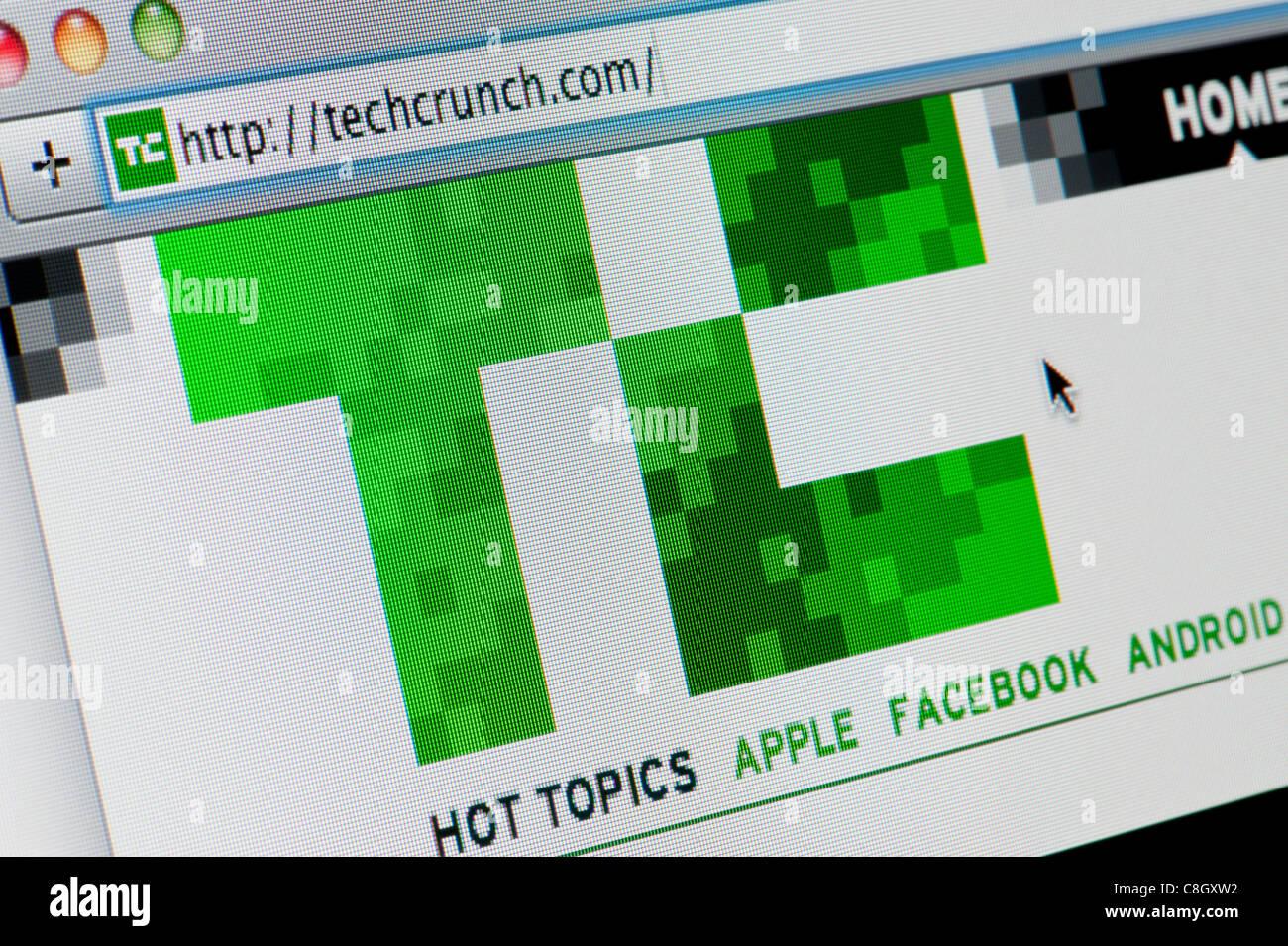 Cerca del Tech Crunch logotipo como visto en su sitio web. (Sólo para uso editorial: -print, televisión, Imagen De Stock
