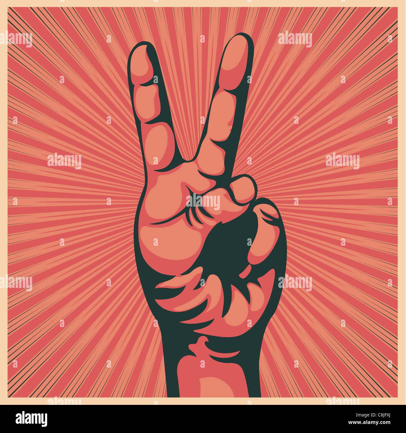 Ilustración en estilo retro de una mano en señal de victoria Imagen De Stock