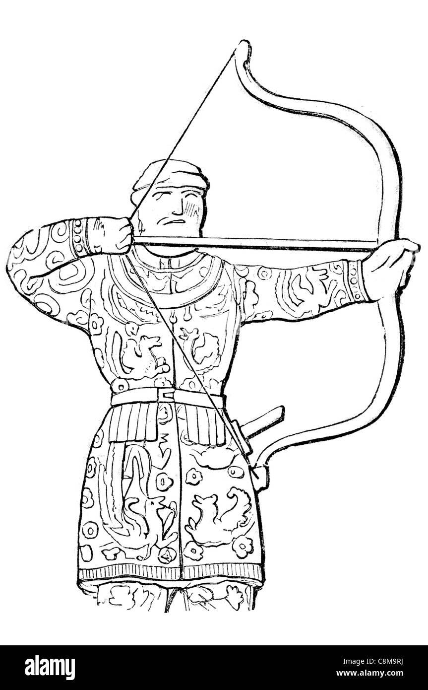 Archer bow flecha persa soldado militar del ejército de guerreros de espada ceremonial Perspolis imperio aqueménido Foto de stock