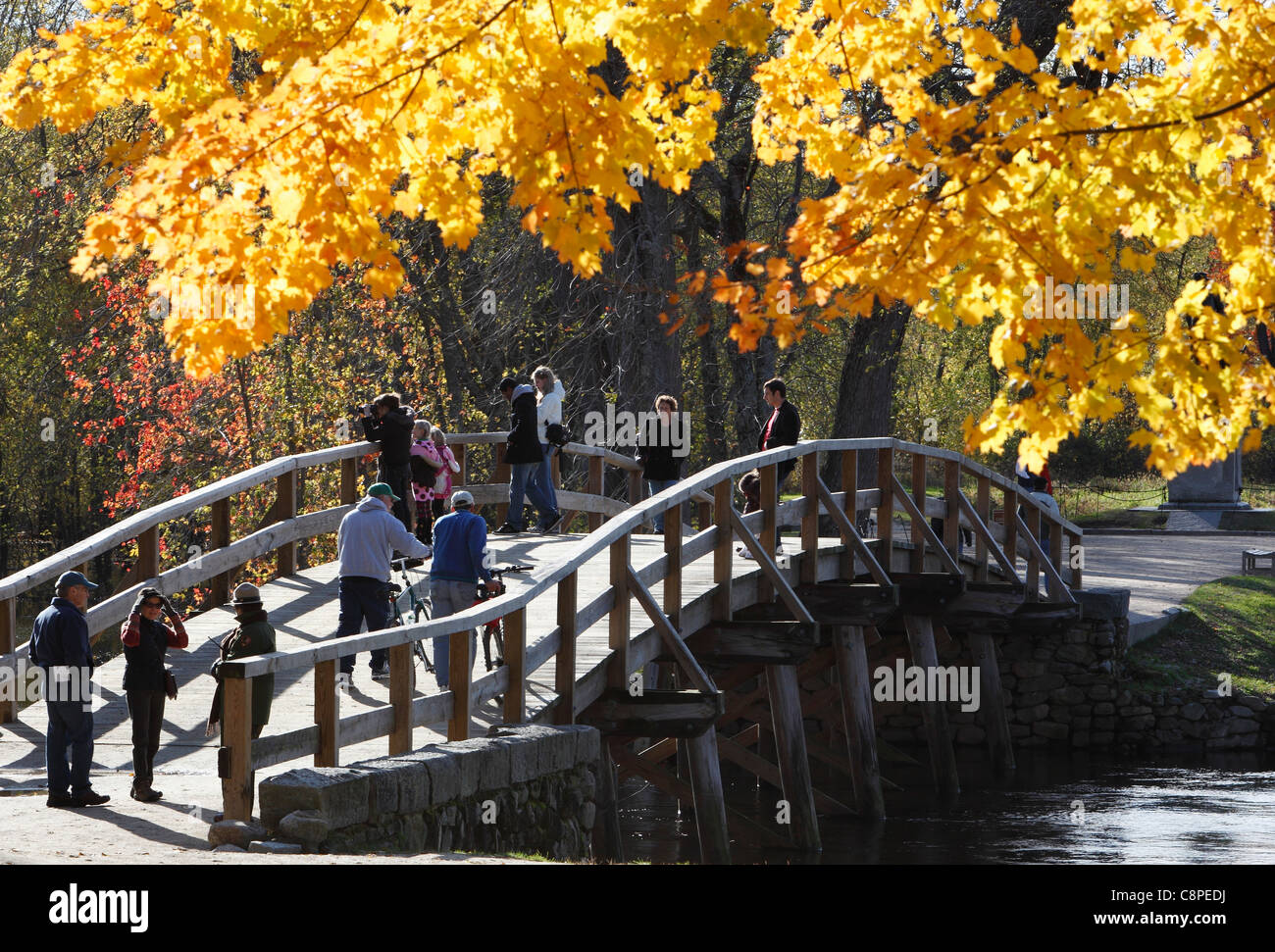 El North Bridge, Minute Man National Historical Park, Concord, Massachusetts, EE.UU. Imagen De Stock