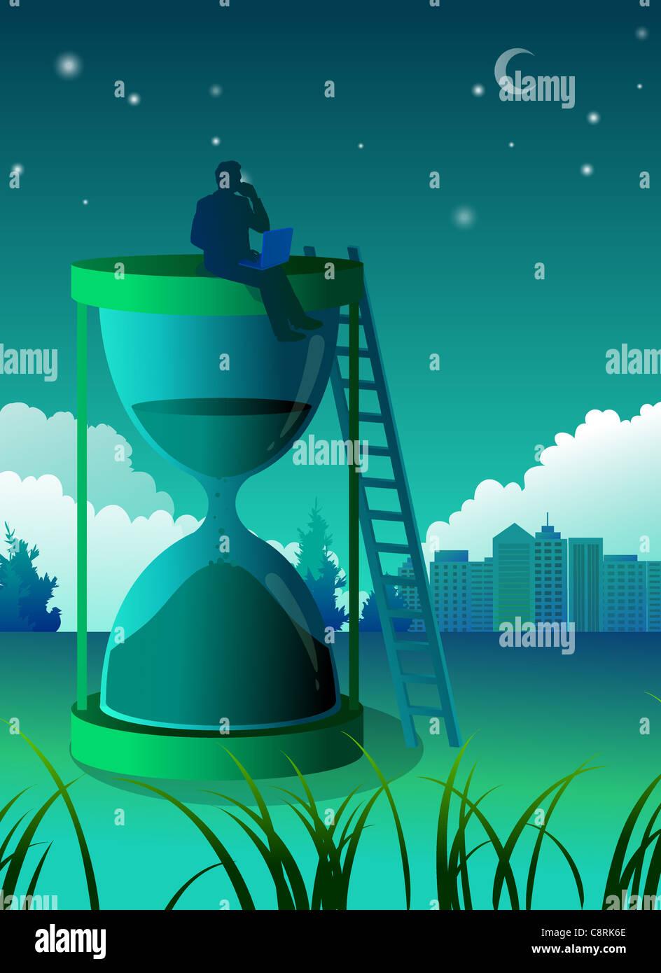 Ilustración del hombre sentado en la parte superior del reloj de arena Imagen De Stock
