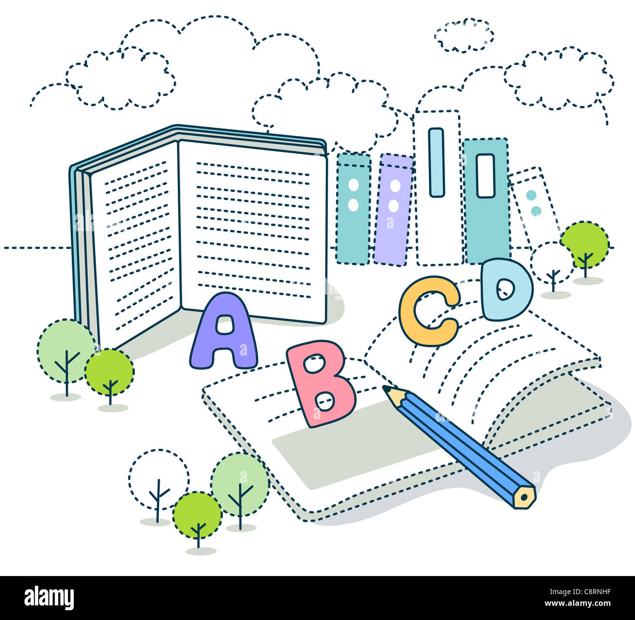 Libro educativo con lápiz Imagen De Stock