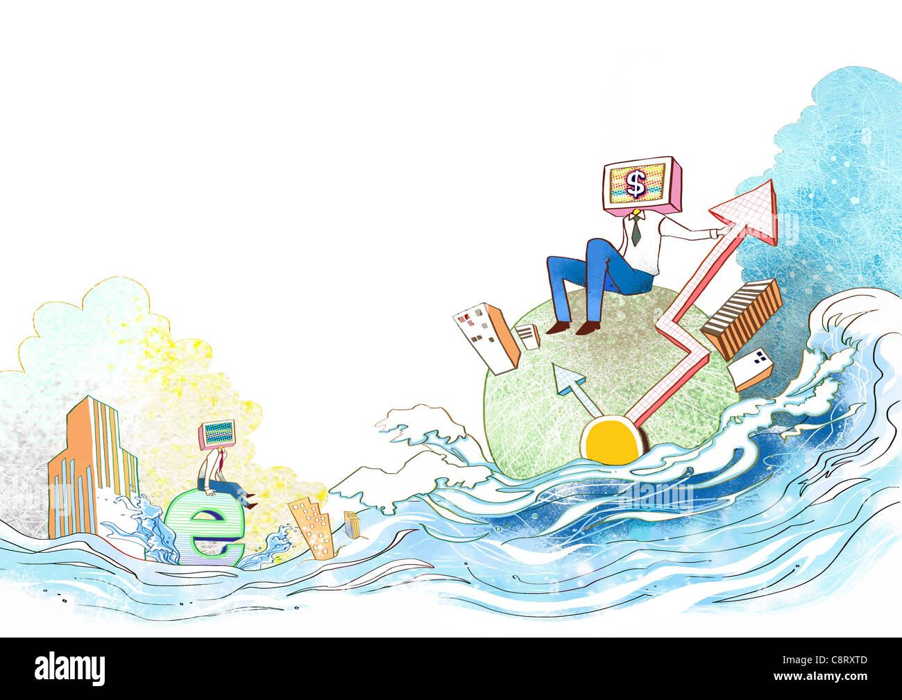 Ilustración de la ciudad y de la bombilla Imagen De Stock