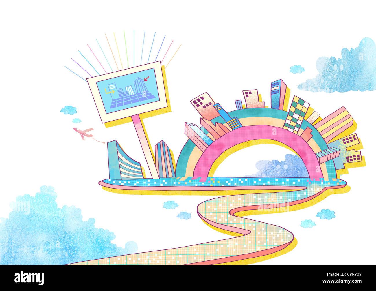 Ilustración de edificios, pantalla visual y avión Imagen De Stock