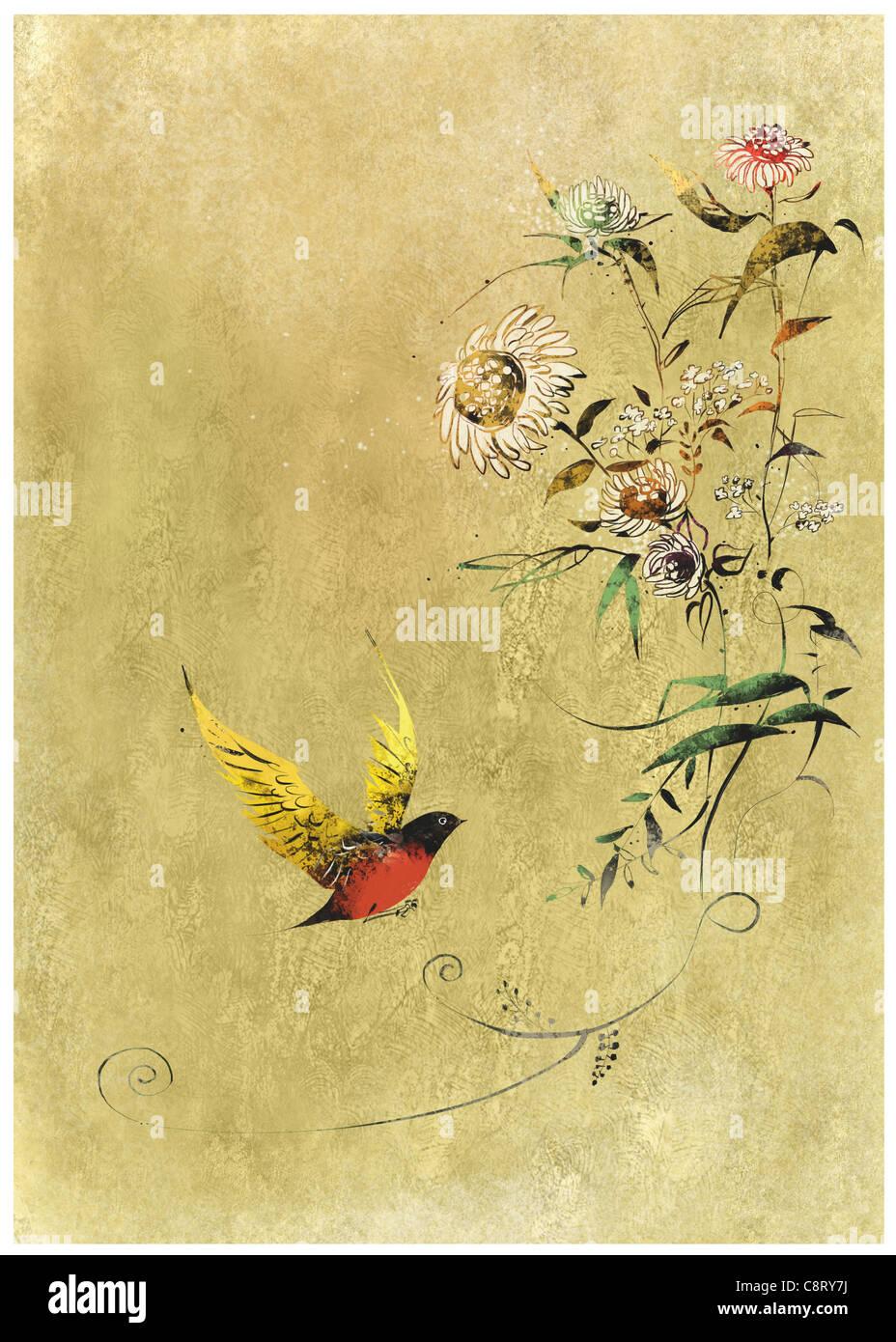 Pájaro en árbol en flor Imagen De Stock