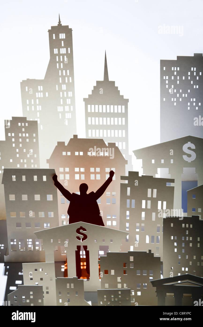 Concepto de poder y logro, un alto ángulo de visualización Foto de stock
