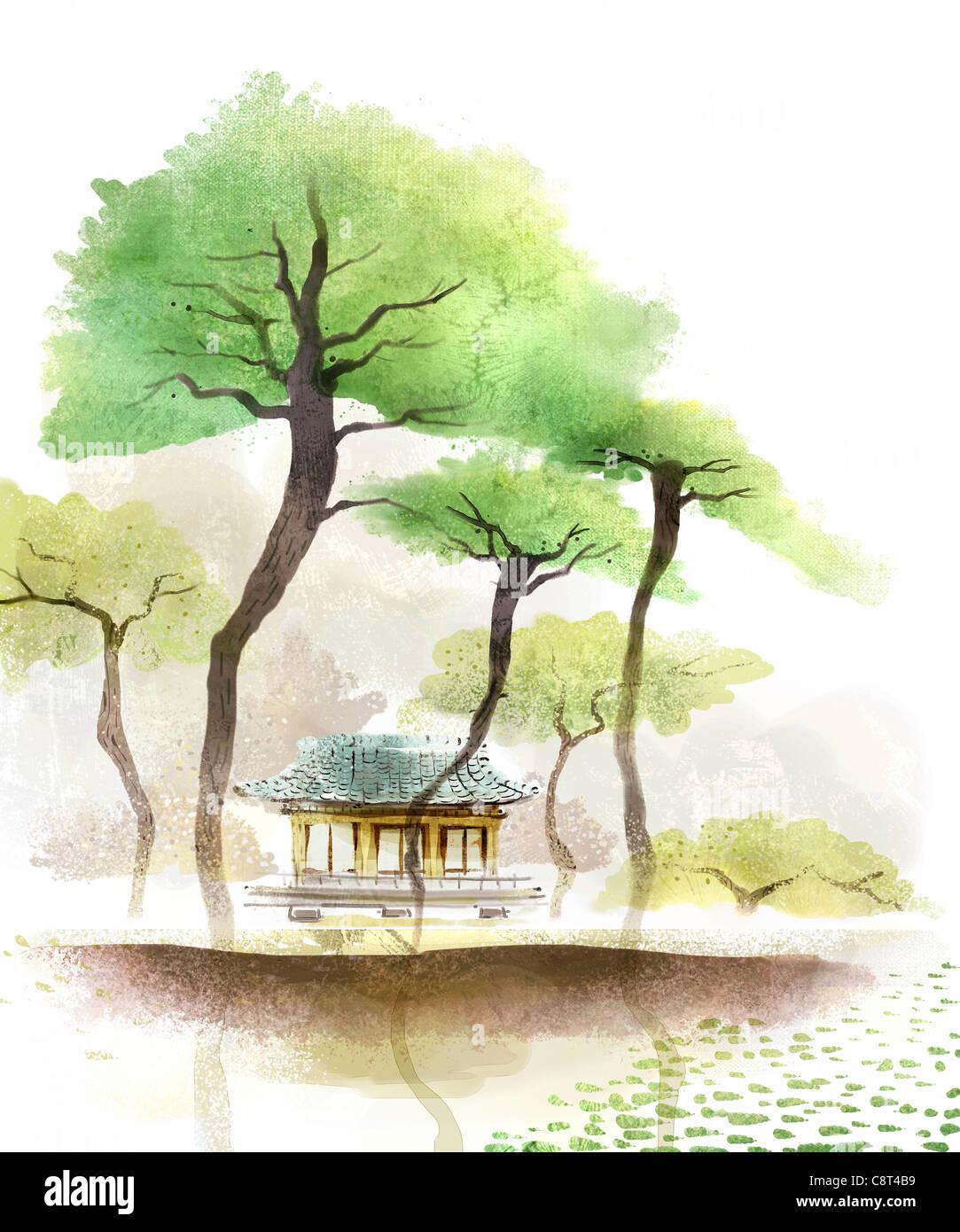 Árbol y casa tradicional de China Imagen De Stock