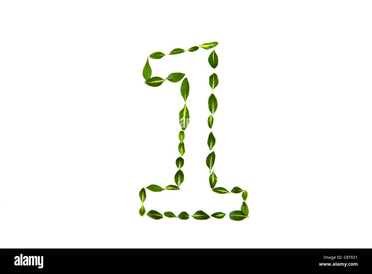 Número 1 dibujado con hojas Imagen De Stock