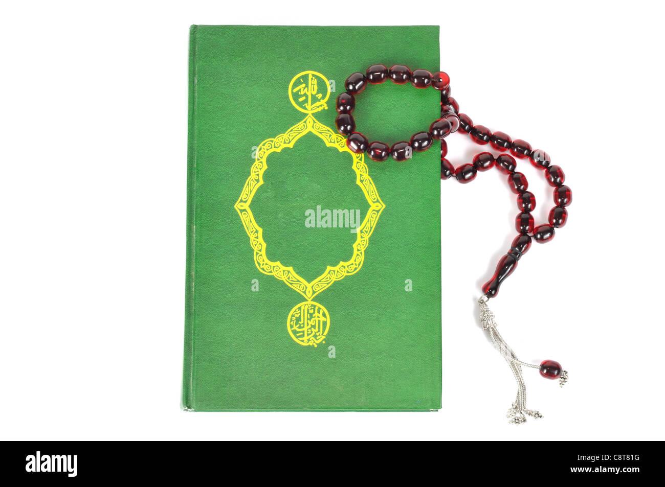 Rosario musulmán en el acebo Corán Imagen De Stock