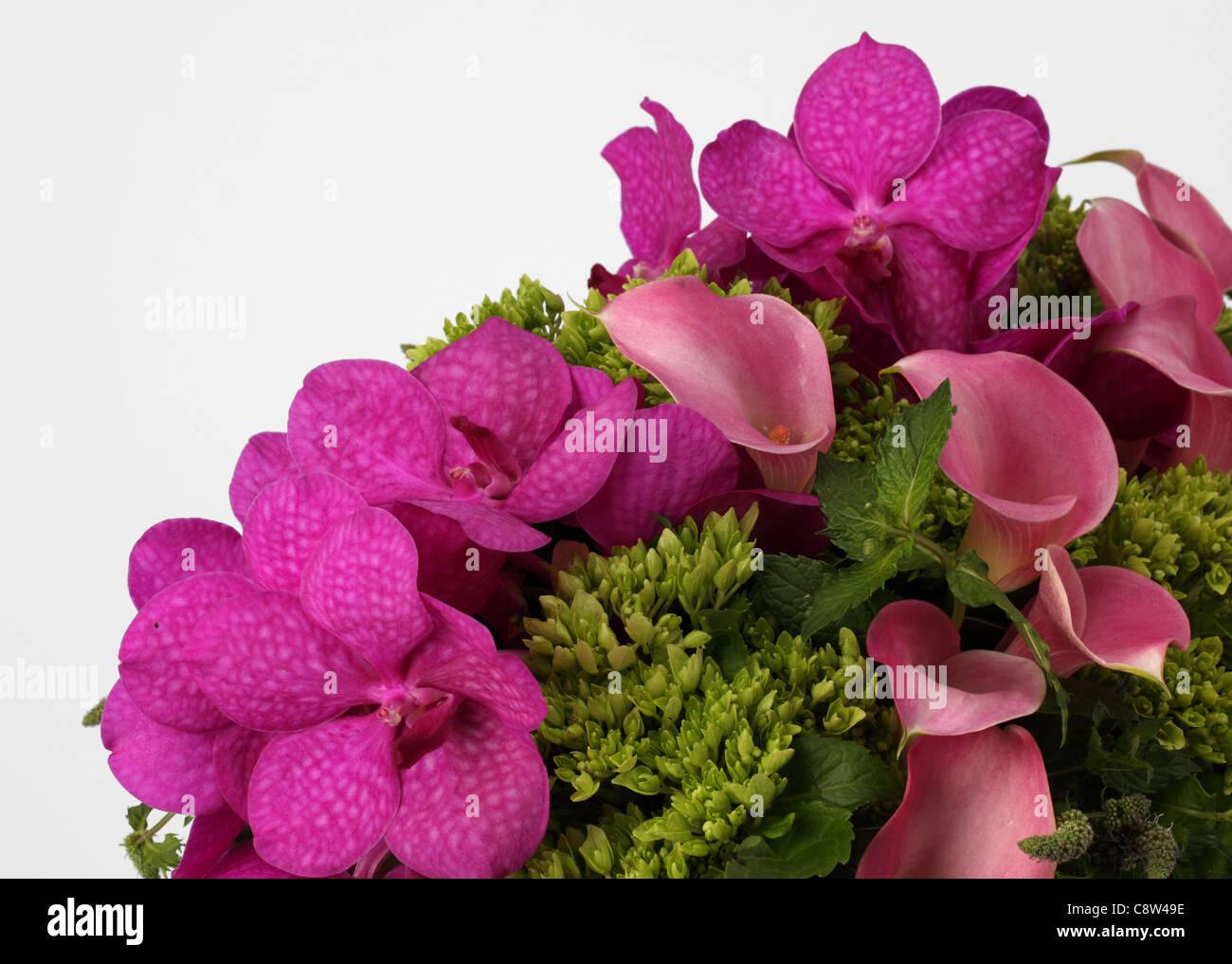 Un Primer Plano De Un Ramo De Flores Coloridas Rosa Morado