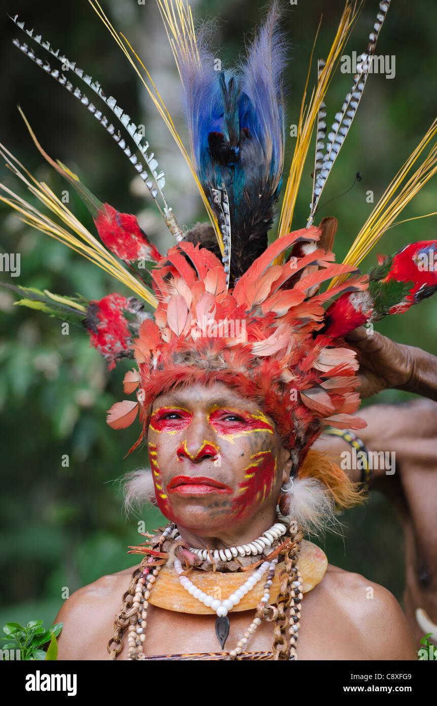 Jiwika bailarina tribal con su jefe vestido preparado Paiya-Sing Sing Papua Nueva Guinea occidental Imagen De Stock