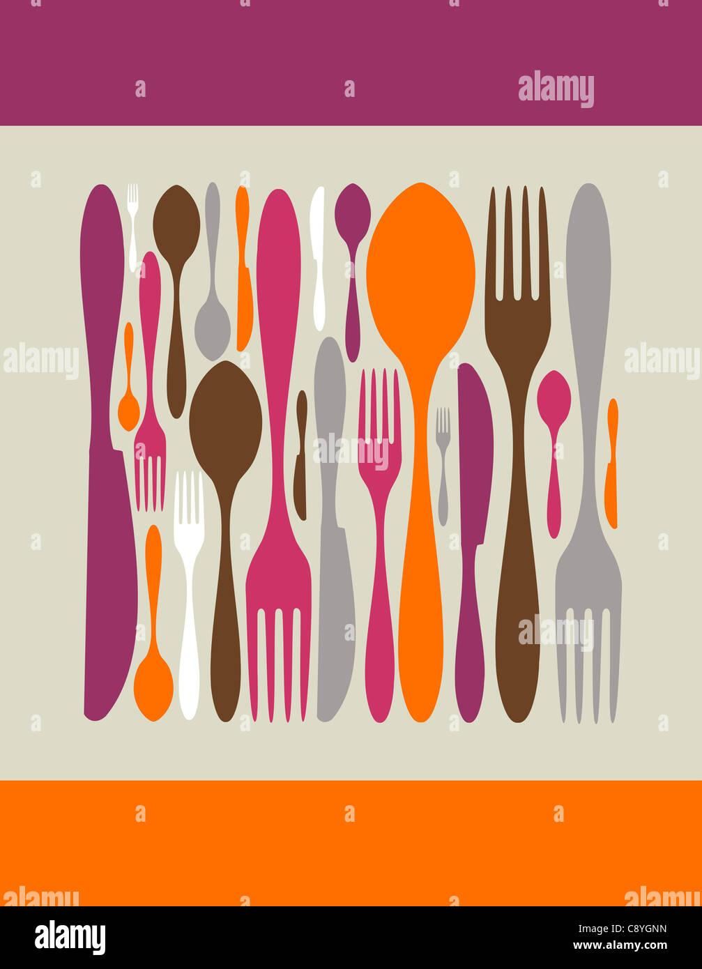 Hecha por iconos cuadrados cubiertos. Tenedor, cuchara y cuchillo siluetas en diferentes tamaños y colores. Imagen De Stock